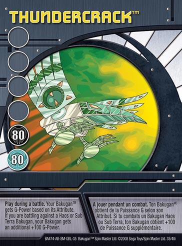 Thundercrack 35 48i Bakugan 1 48i Card Set