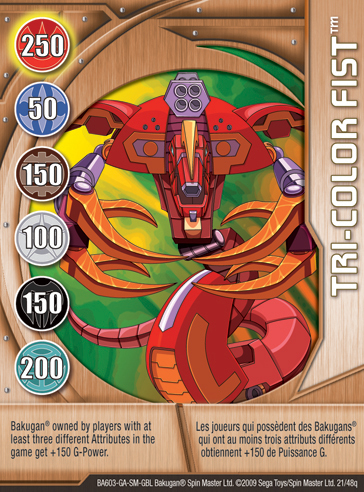 21q Tri color Fist Bakugan 1 48q Card Set 1