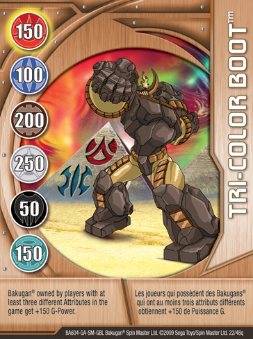 22q Tri color Boot Bakugan 1 48q Card Set 1