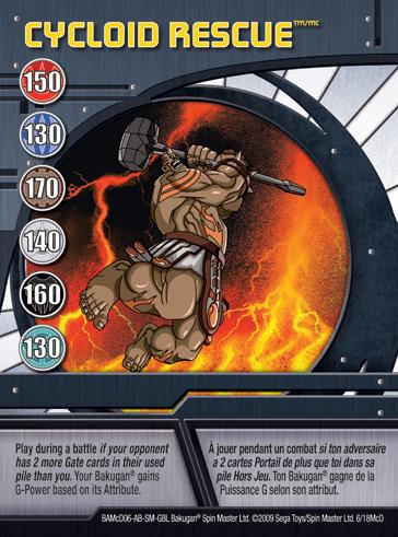 6McD Cycloid Rescue Bakugan 1 18McD Promo Card Set