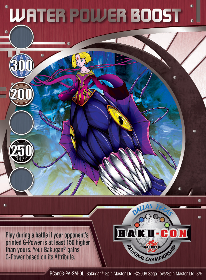 BCon 3 Water Power Boost Bakugan 1 5BCon Card Set