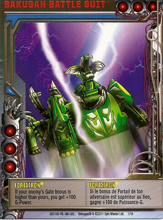 1 1b Fortatron Bakugan 1 1b Battle Suit Card Set