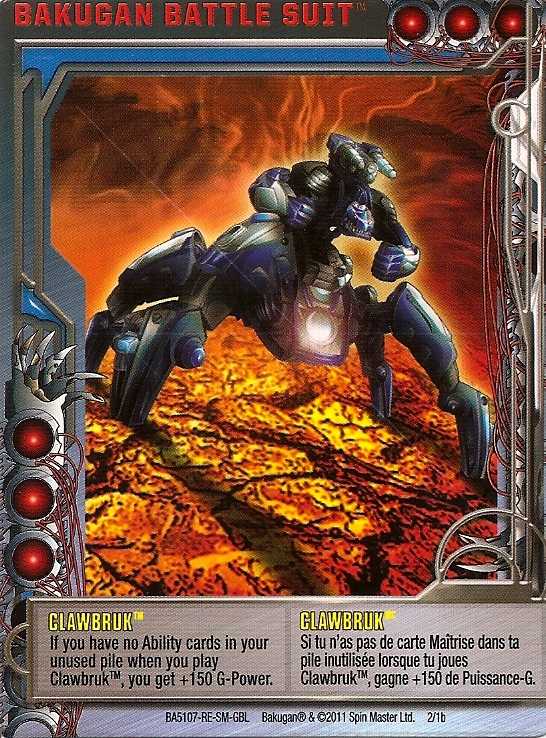 2 1b Clawbruk Bakugan 1 1b Battle Suit Card Set